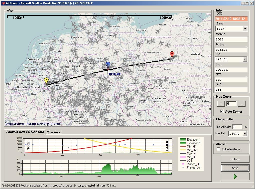 Airplane scatter predikcia spojenia s PA4EME len pri lietadle nad 12000m